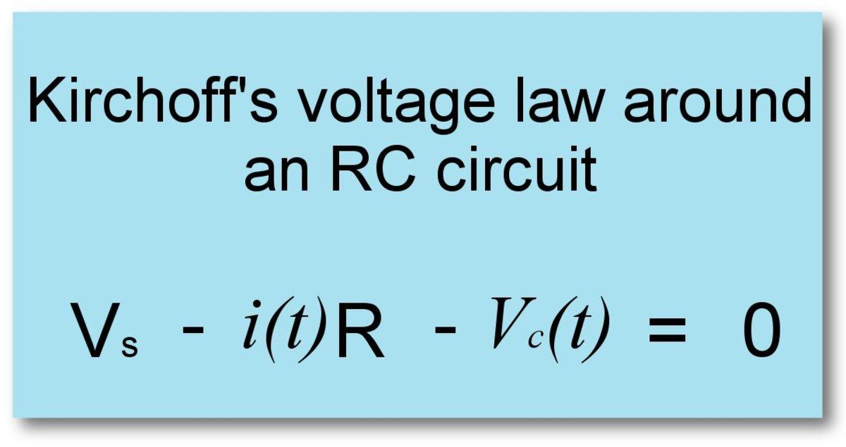 Kirchoff's voltage law applied around an RC circuit.