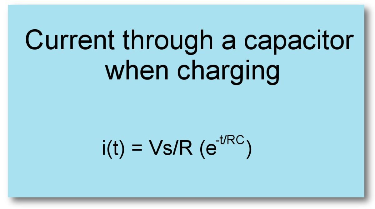 Current through a capacitor in an RC circuit during charging.