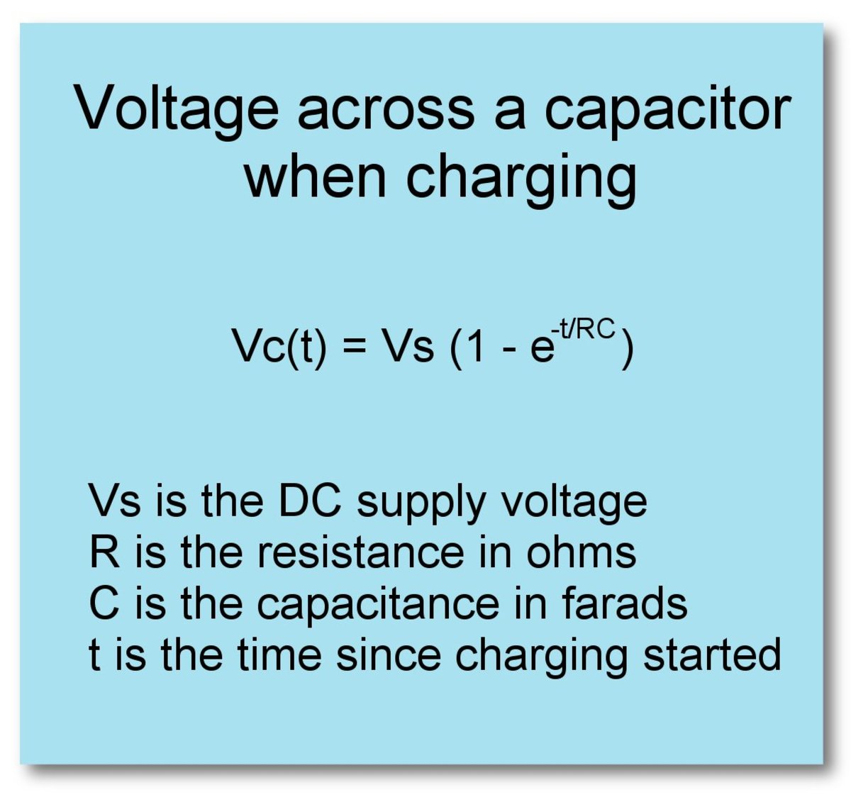 Equation for voltage on a capacitor in an RC circuit as the capacitor charges.
