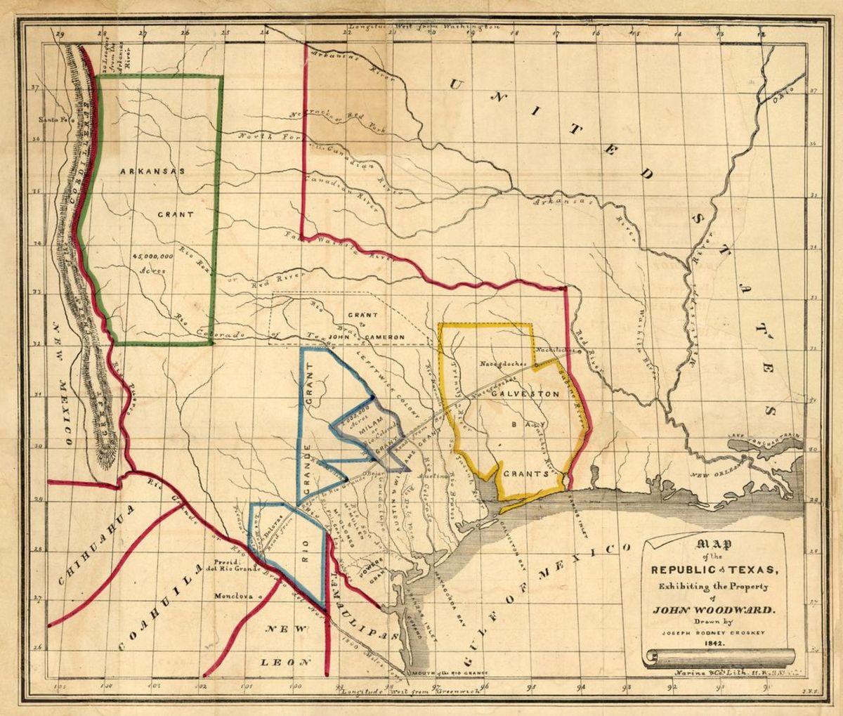 Map of the Republic of Texas circa 1842.