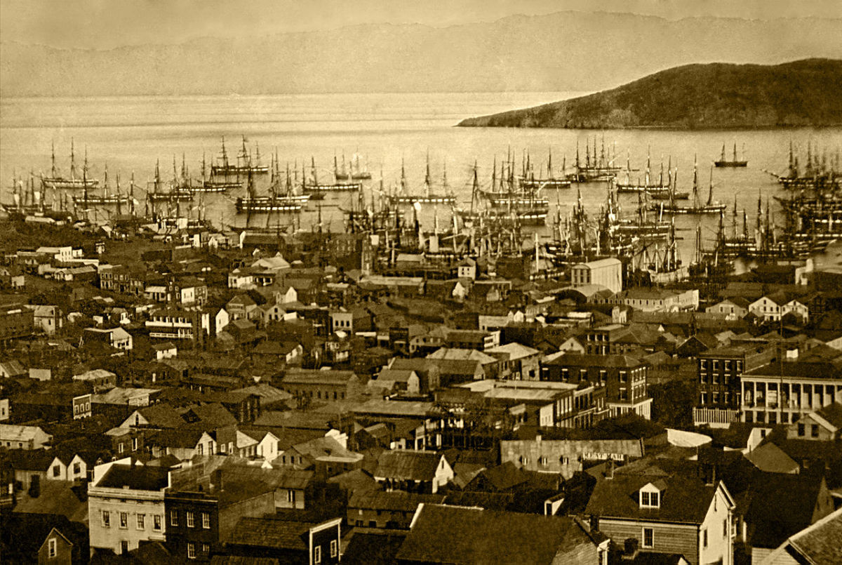 San Francisco harbor circa 1850. The congestion in the harbor often forced ships to wait days before unloading their passengers and cargo.