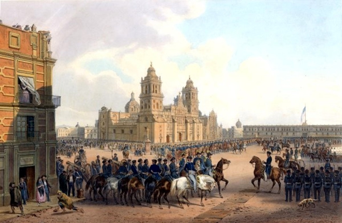 U.S. Army occupation of Mexico City in 1847. The American flag is flying over the National Palace.