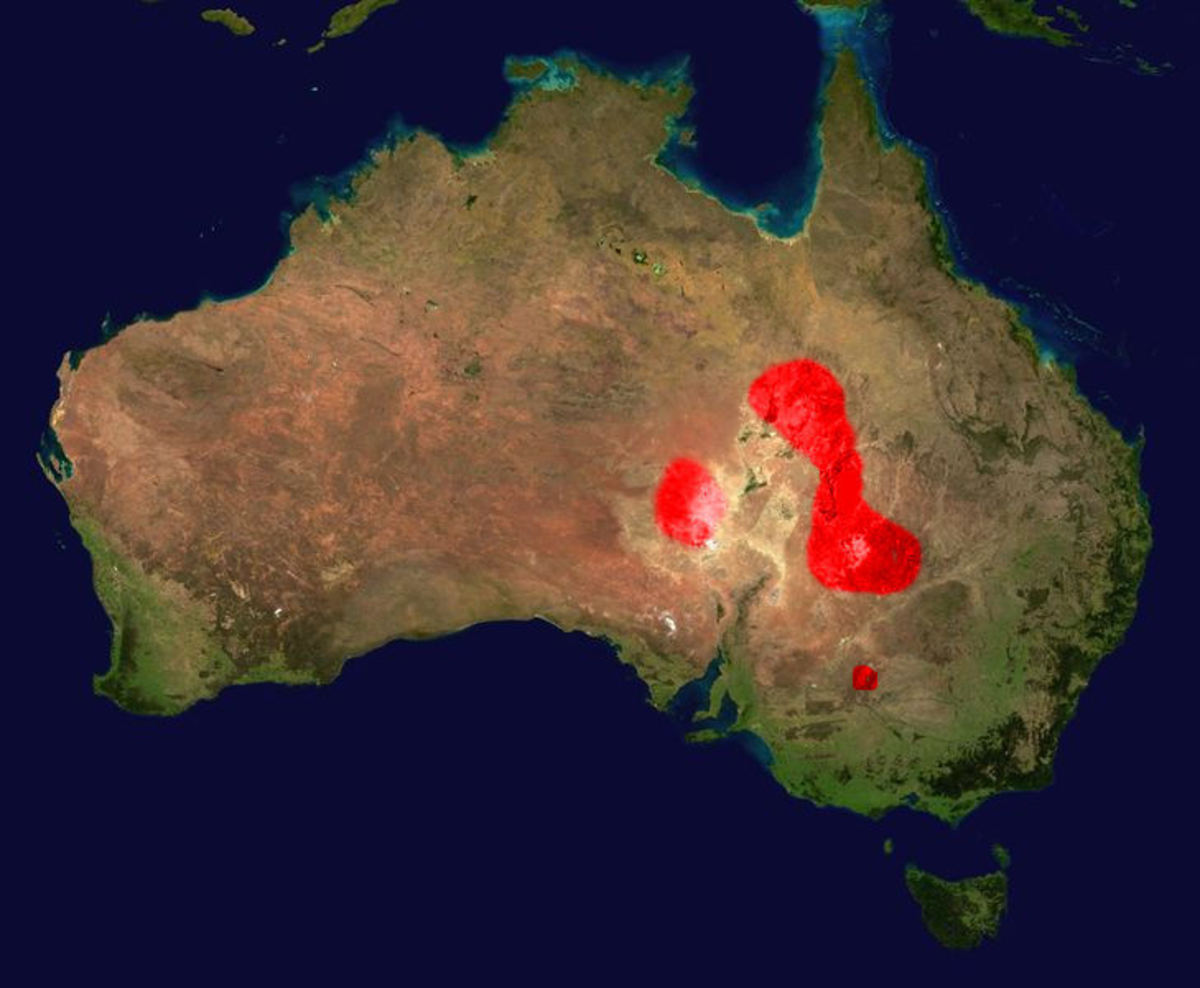 Range and distribution of the Inland Taipan (red zones).