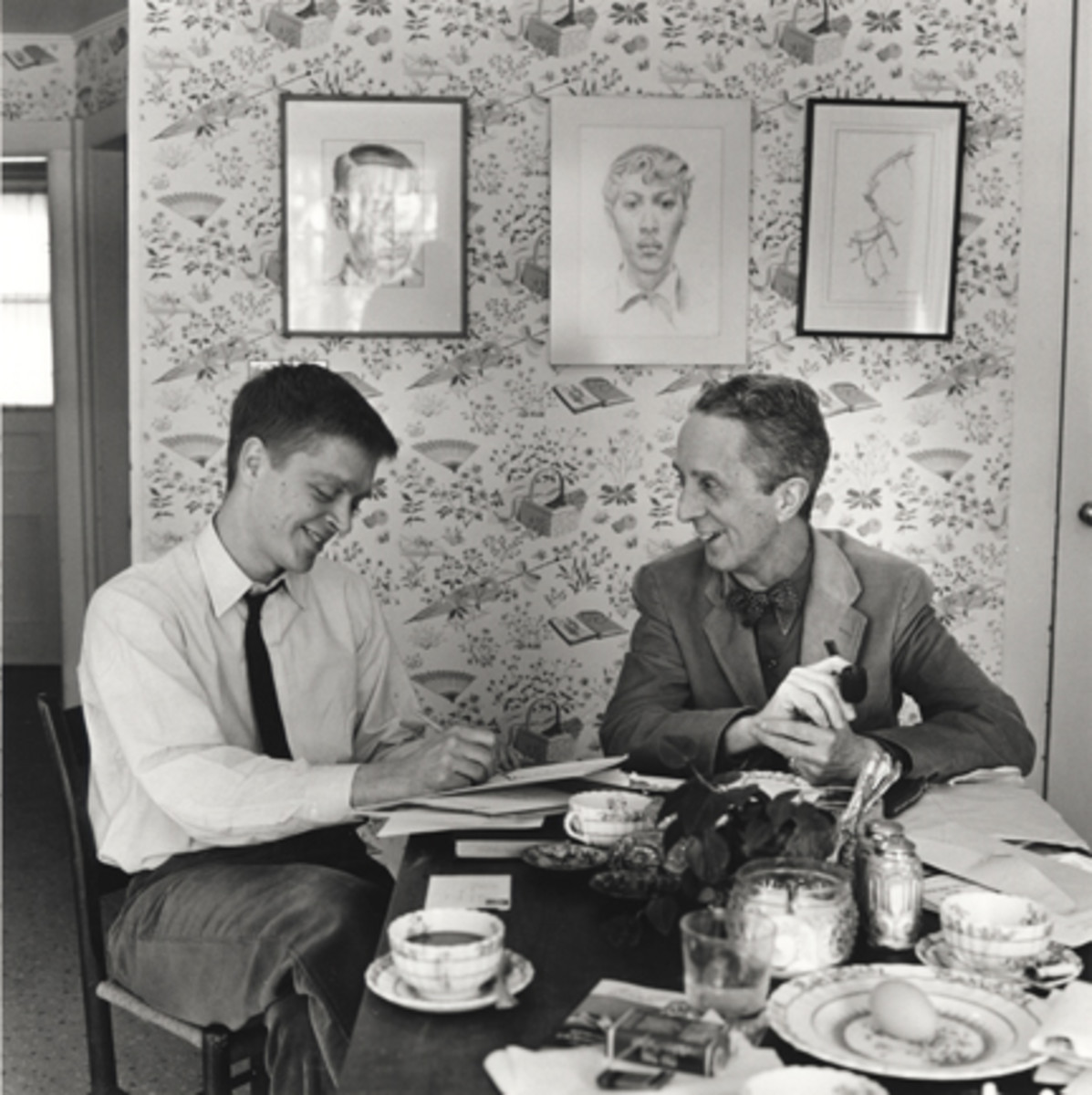 Norman Rockwell and his son working on autobiography