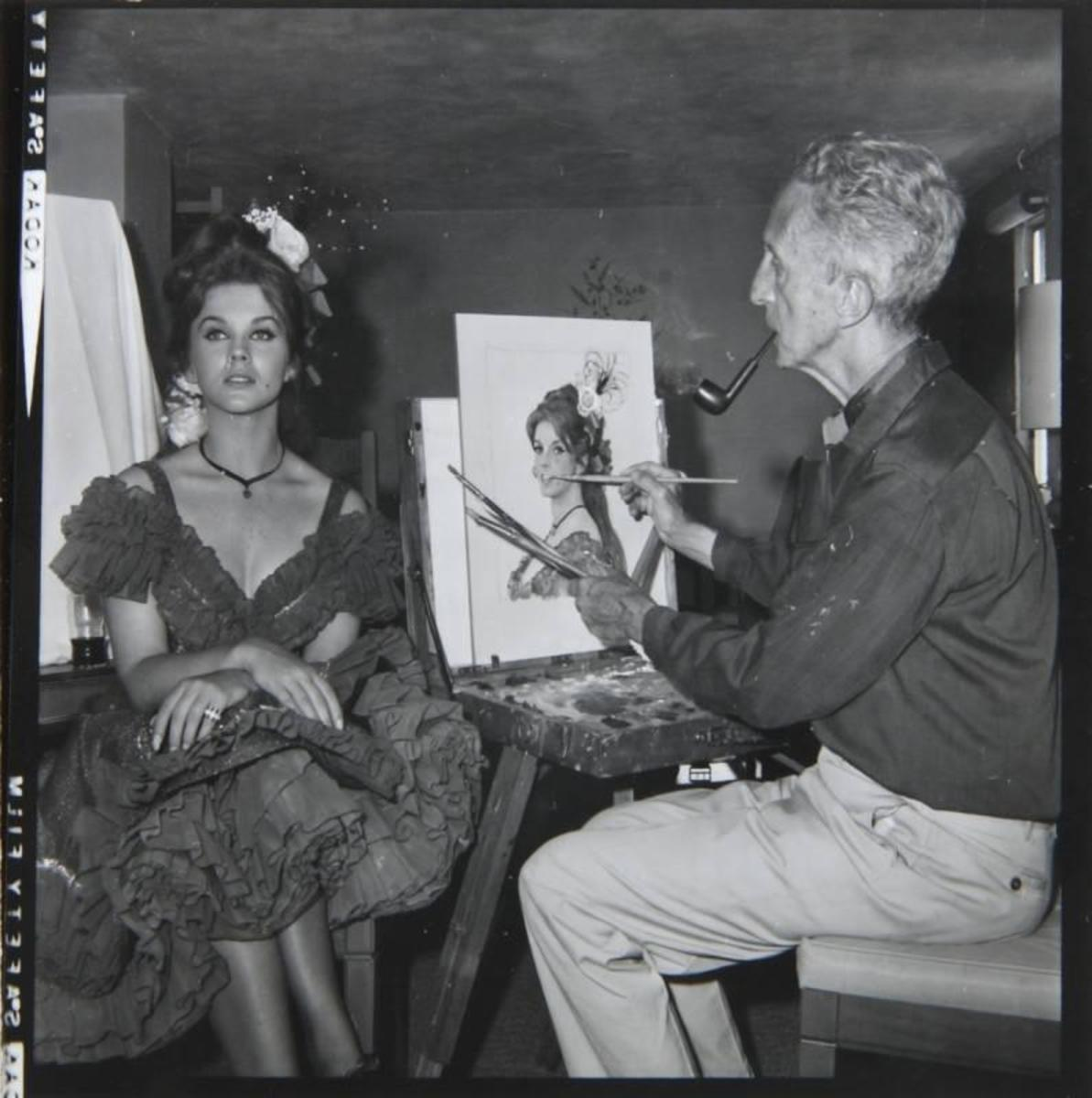 Norman Rockwell painting picture of Ann Margaret during filming of movie Stagecoach
