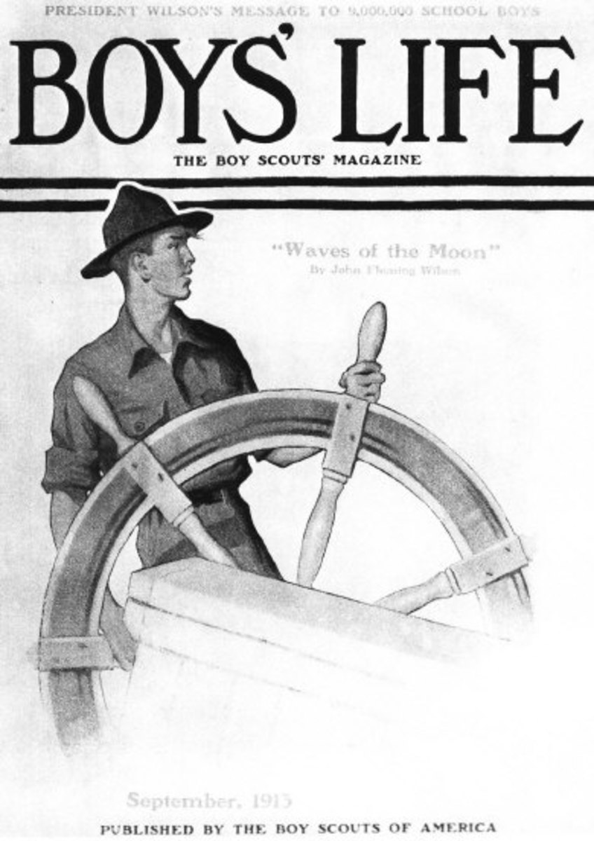Scout at ship's wheel