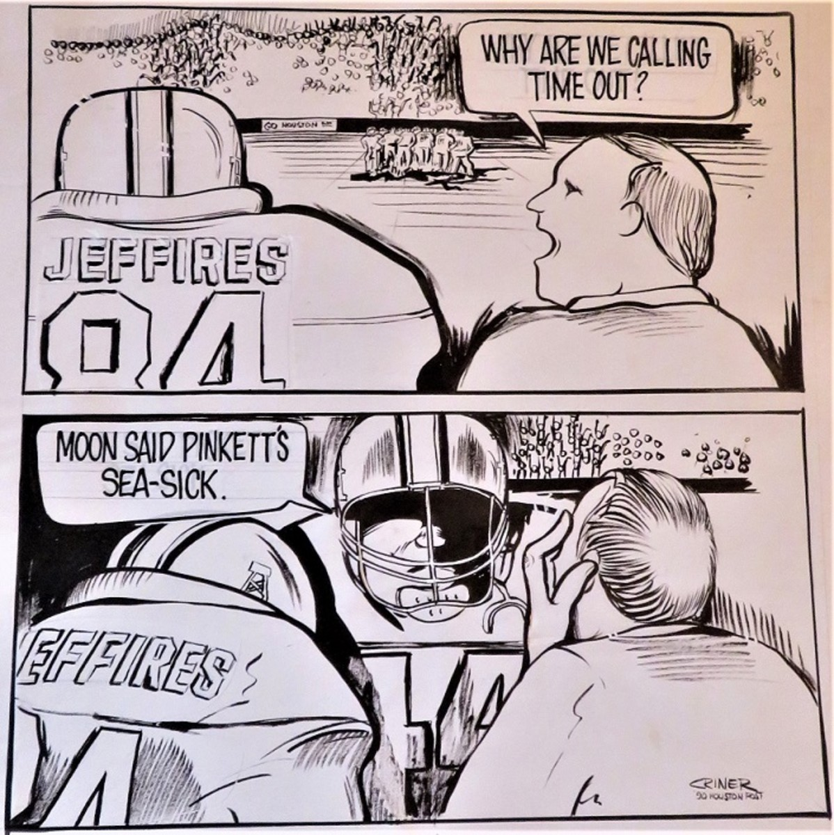 Houston Oilers Cartoon by Charles Criner