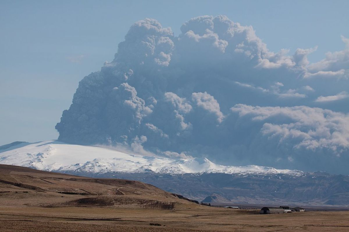 This Icelandic volcano, called Eyjafjallajökull, erupts frequently because it is not covered by much ice or snow.