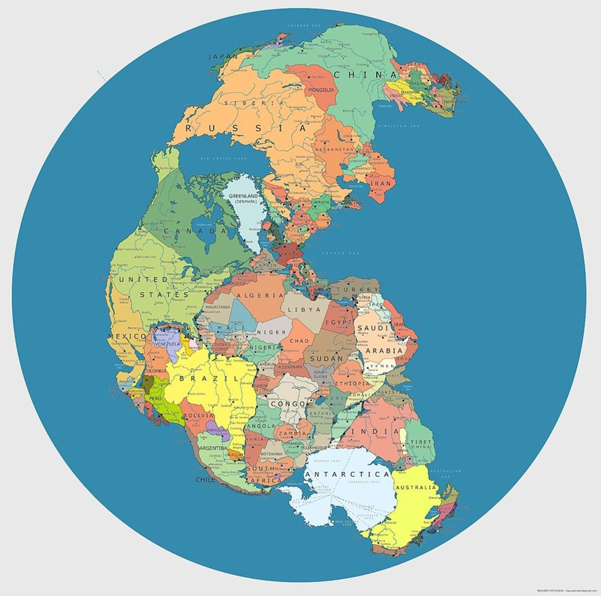 Pangaea by national boundaries.