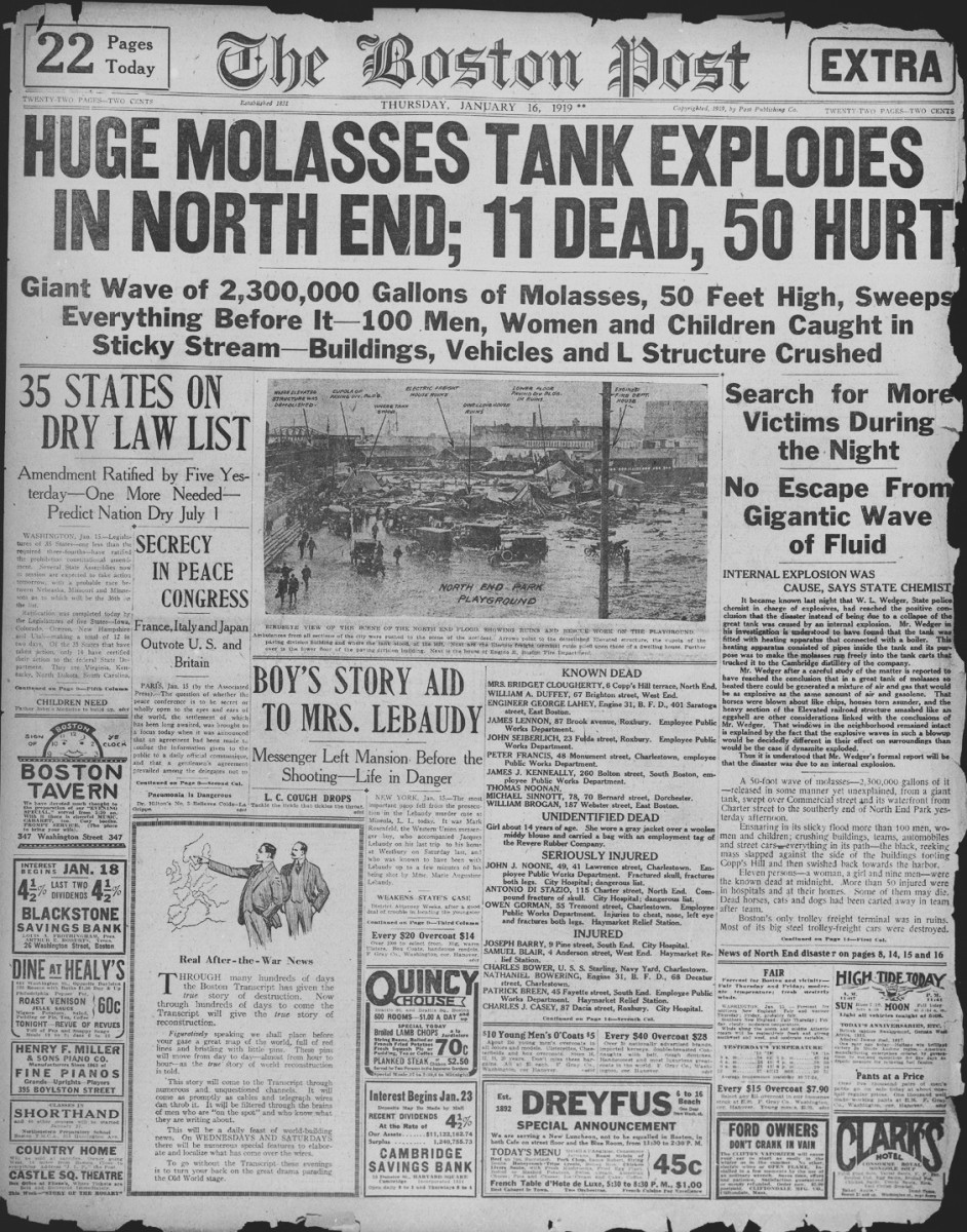 Full front page coverage of the Boston Molasses Flood
