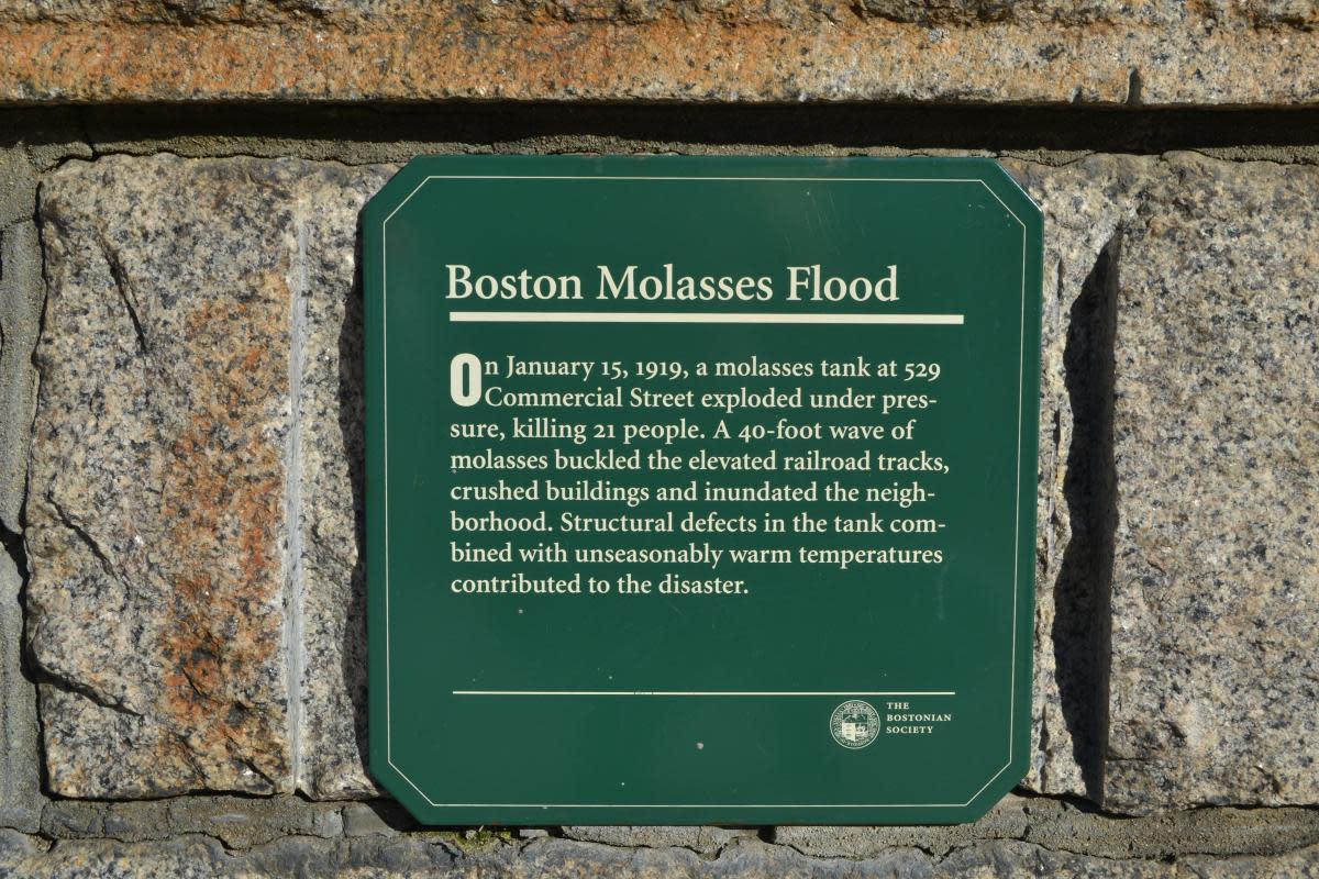 A plaque commemorating the Boston molasses flood