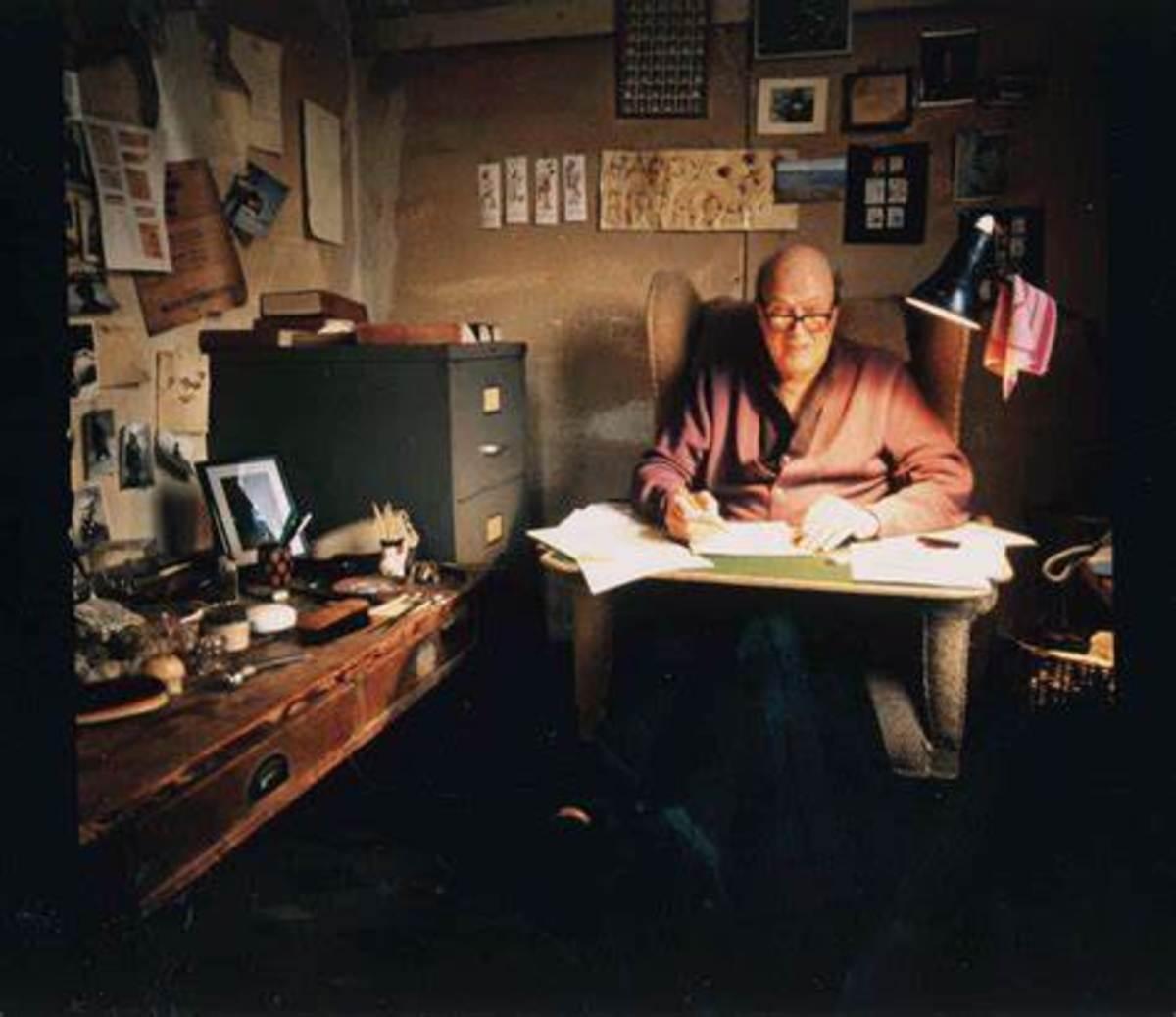 Roald Dahl busy writing