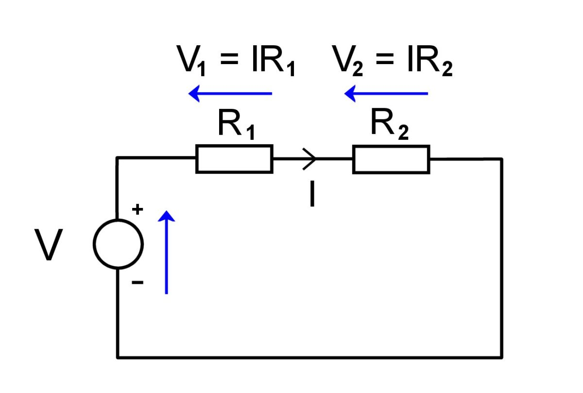 Voltage drop across resistors connected in series.