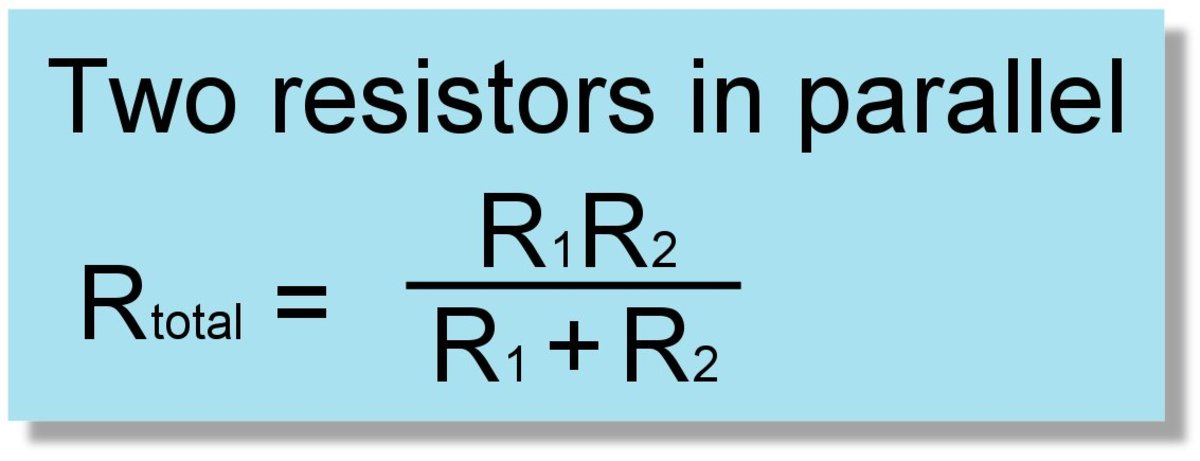 Formula for two resistors connected in parallel.