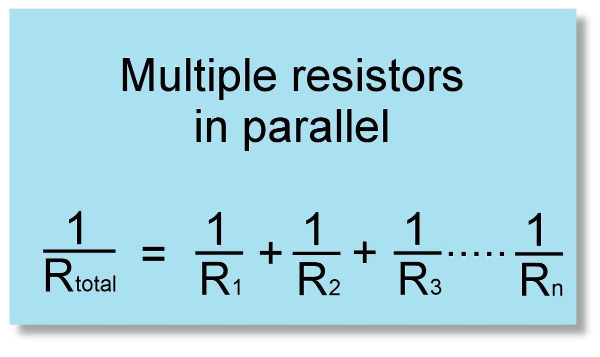 Formula for multiple resistors in parallel.