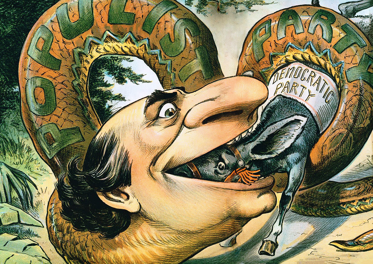 An 1896 cartoon shows Presidential candidate William Jennings Bryan swallowing the Democratic Party with Populist support.