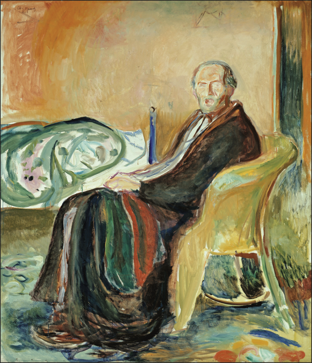 Edvard Munch did this eerie self-portrait in 1918 while undergoing the effects of the Spanish Influenza. Fortunately, he survived the disease.