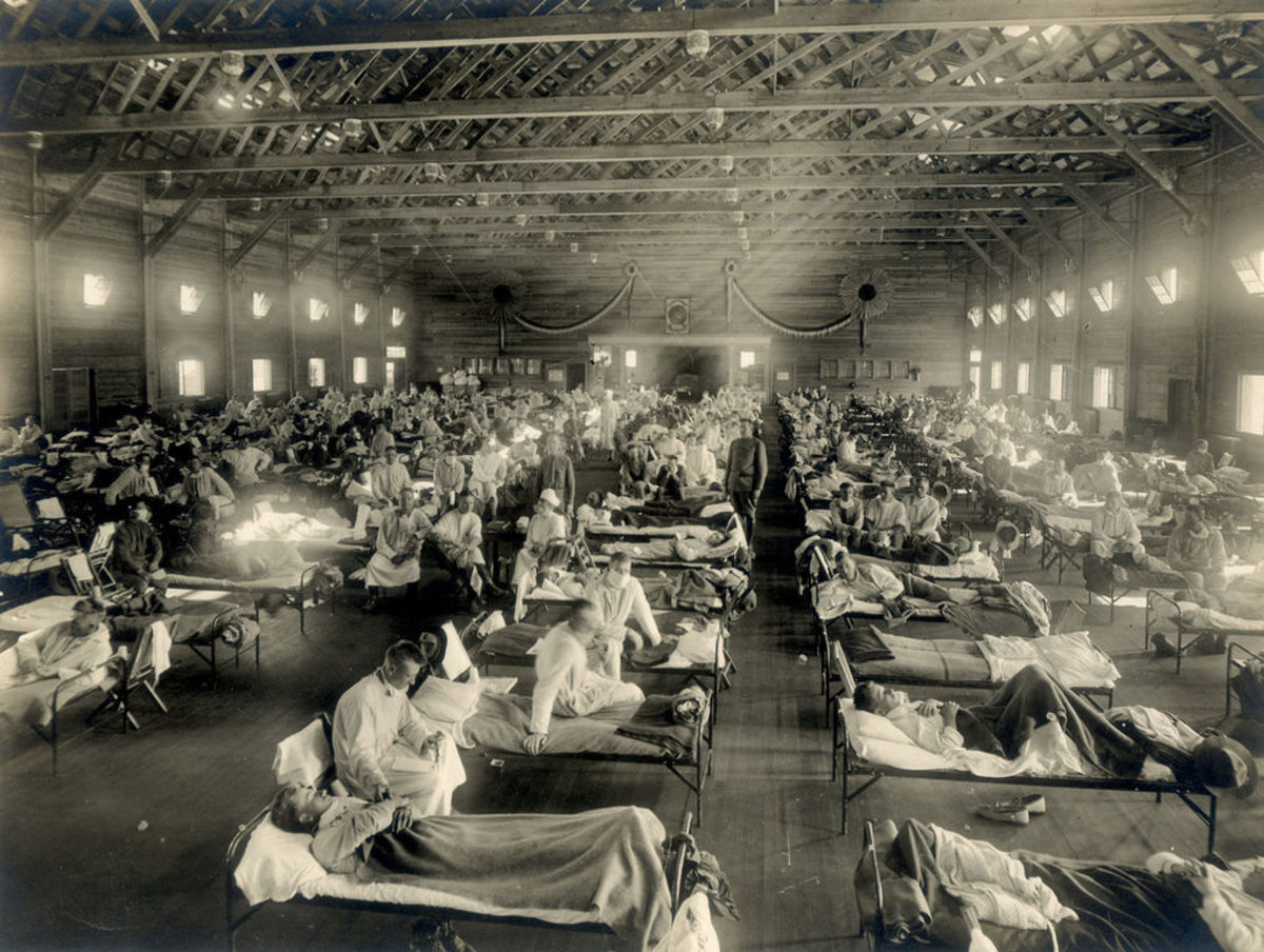 Soldiers afflicted with the Spanish Flu were housed in makeshift hospitals, like the one pictured here at  Camp Funston, Kansas.