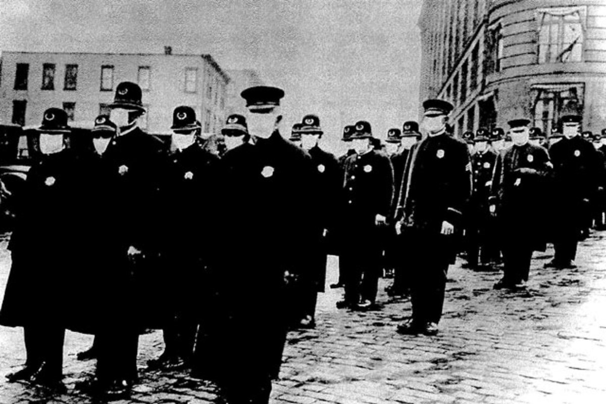 In 1918, the Seattle police force was required to wear surgical masks.