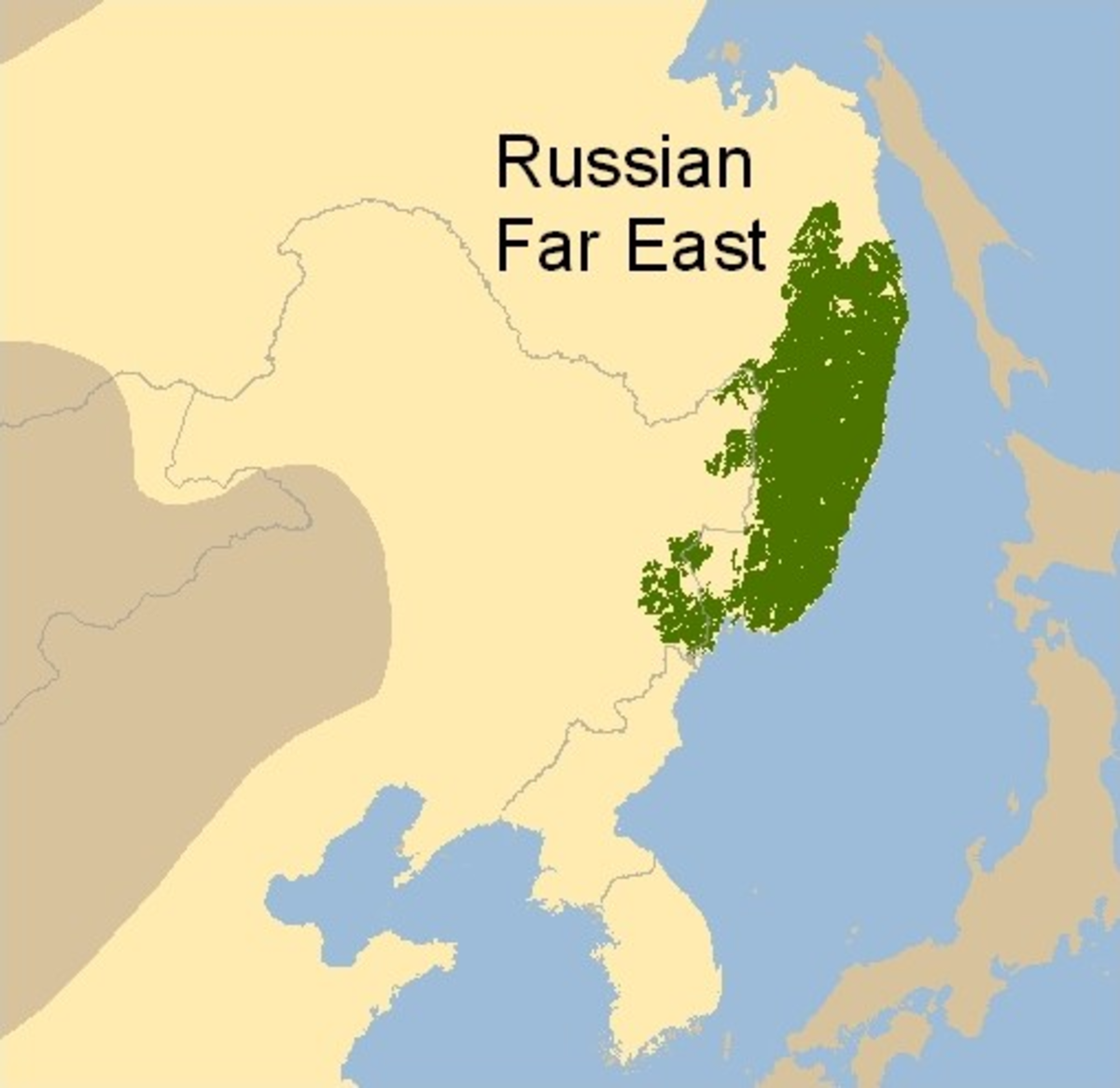 Distribution of the Siberian tiger (in green)