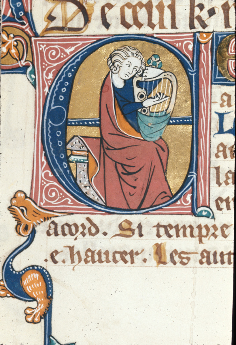 """Man playing the Harp"" from the British Library Illuminated Manuscripts archive"