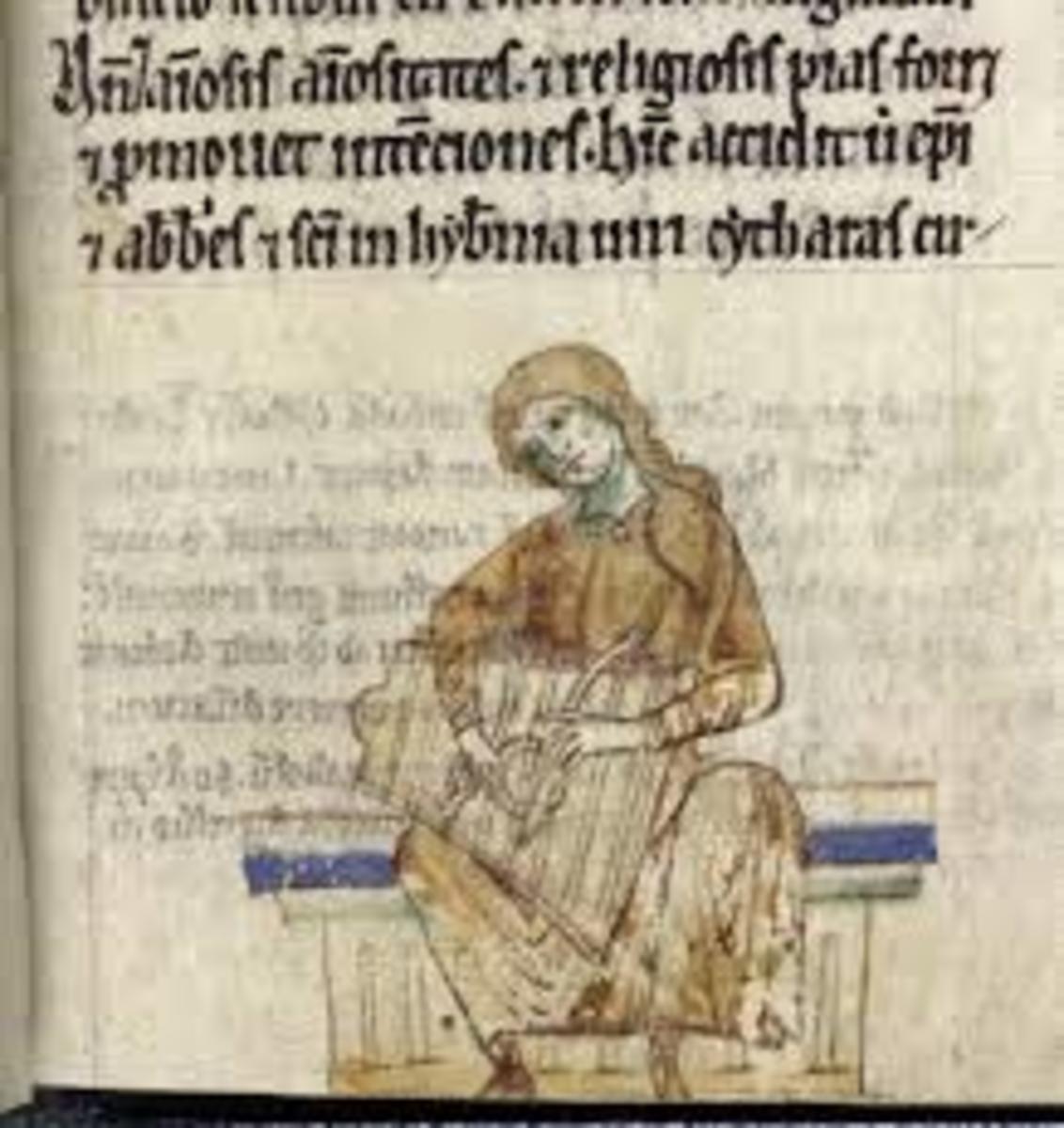 """Irish Musician playing the Harp"" (or is it?) from the Topographia Hibernica"