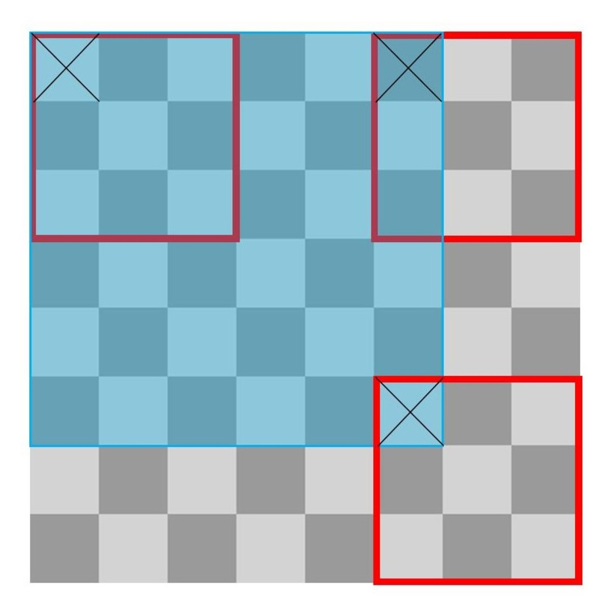 A Chessboard With 3x3 Squares