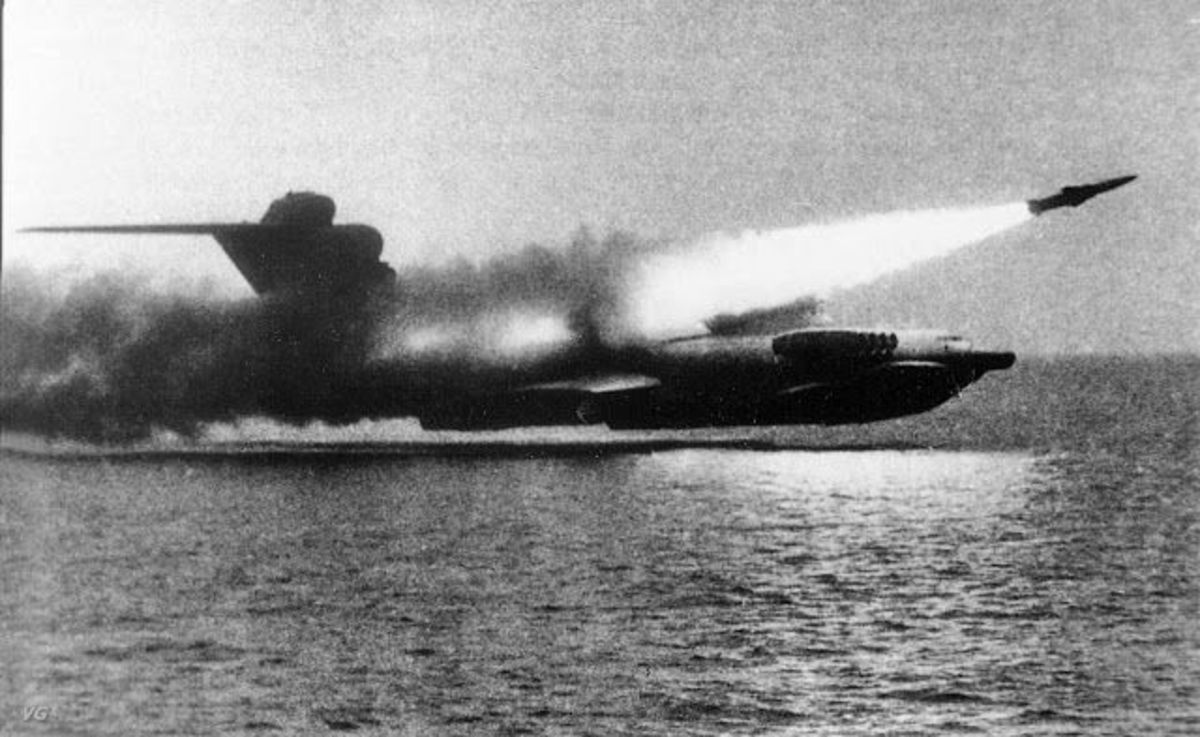 The Lun-class, firing its missile.