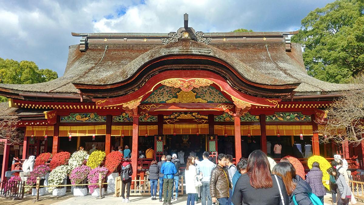 Dazaifu Tenmangu, the most famous Shinto shrine venerating Sugawara no Michizane.