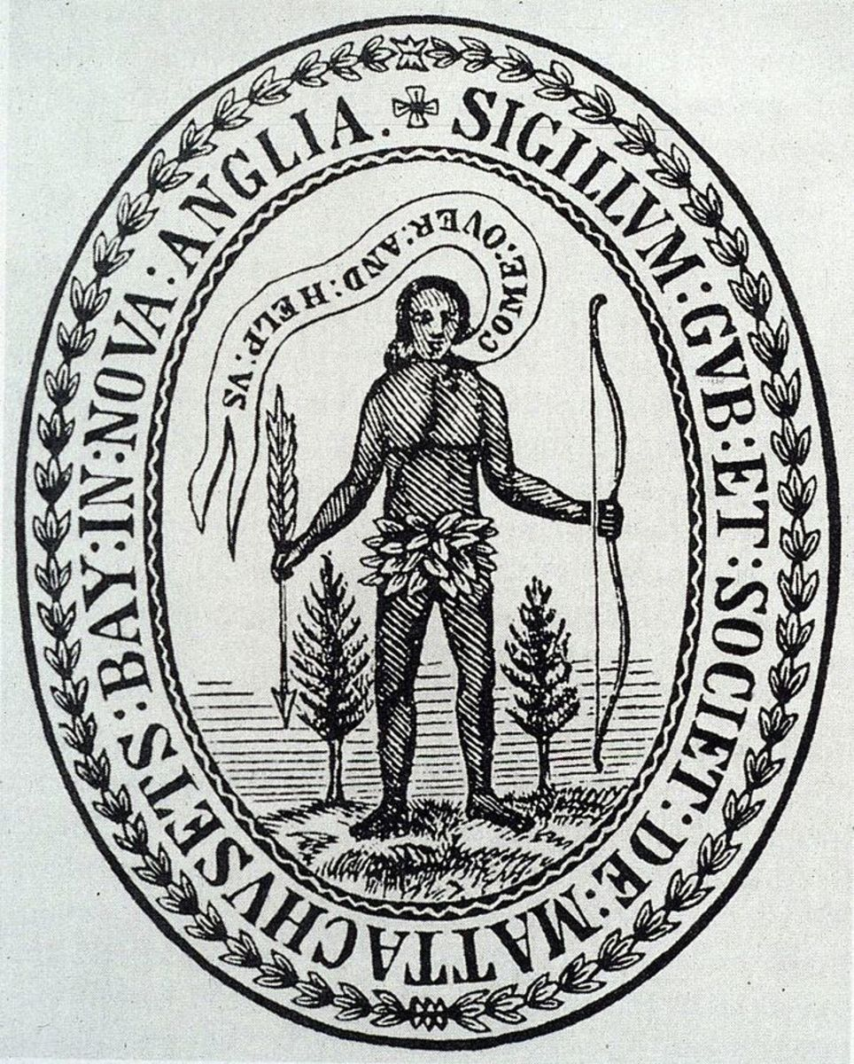 "Seal of Massachusetts Bay Colony. It featured an Indian holding an arrow pointed down in a gesture of peace, and the unlikely words ""Come over and help us,"" emphasizing the missionary intentions of the colonists."