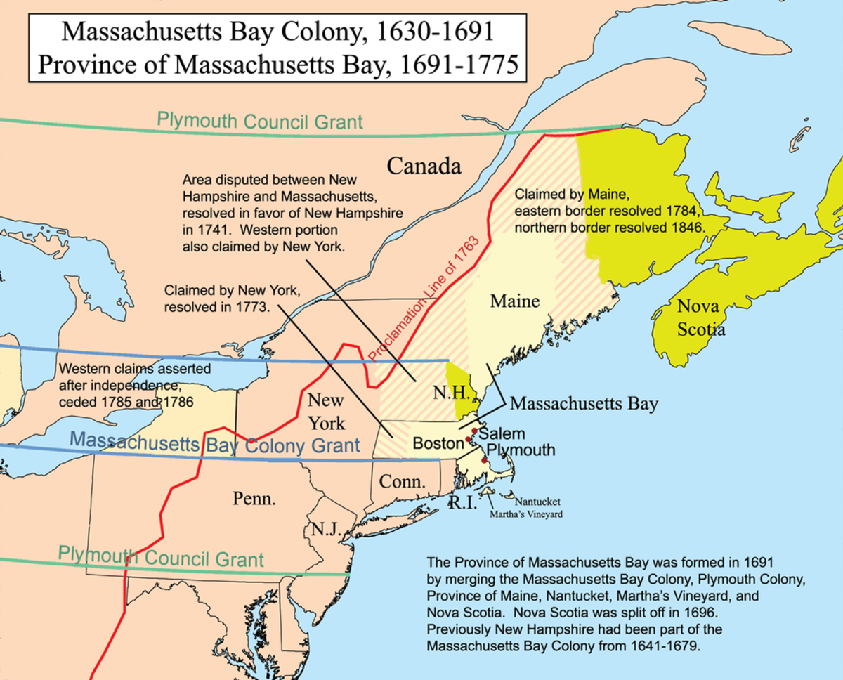 Map of New England in the early 1600s