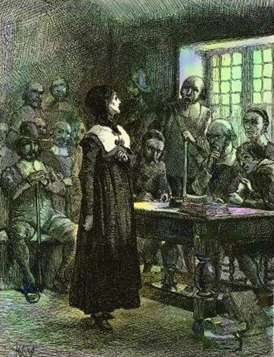 Artist depiction of Anne Hutchinson on trial, c. 1901