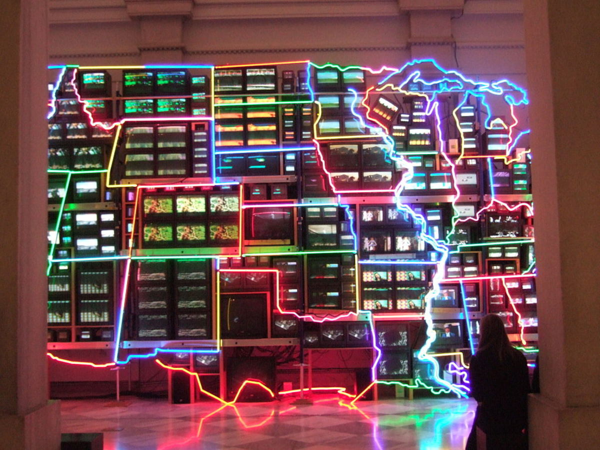 """Electronic Superhighway: Continental US, Alaska, Hawaii"" by Nam June Paik"