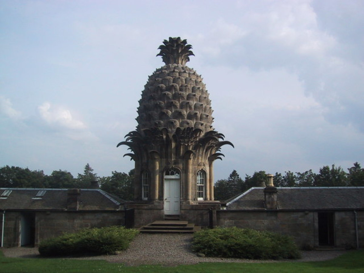 The pineapple folly was built in Dunmore, Scotland in the middle of the eighteenth century.