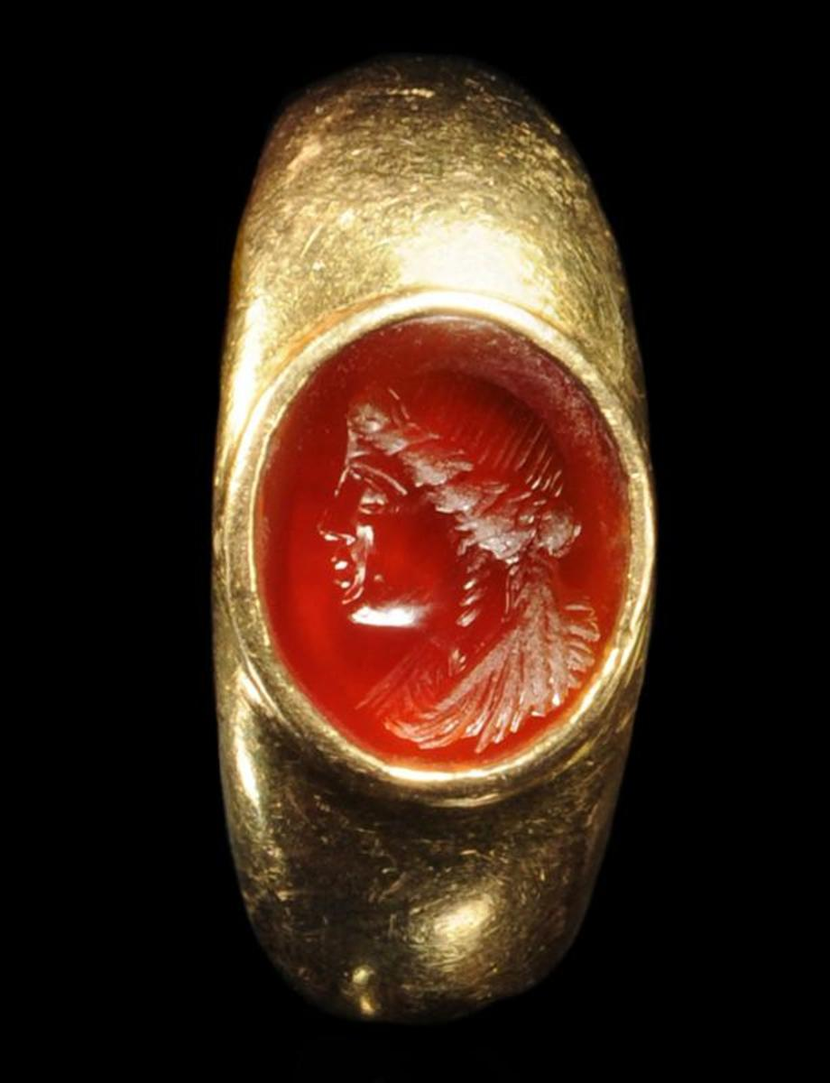 This Grecian portrait ring is set with a carved carnelian stone, which depicts a woman who was likely a Ptolemaic queen, according to experts.