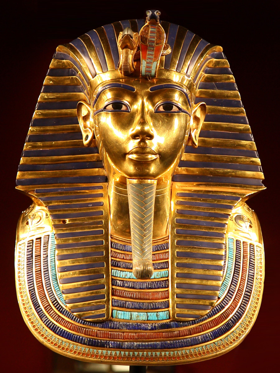 The iconic burial mask of pharaoh Tutankhamen contains inlays of carnelian in the wide collar of the mask.