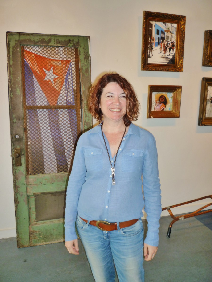 Ana Villaronga Roman at the Katy Contemporary Art Museum during Cuba Behind Open Doors Exhibit