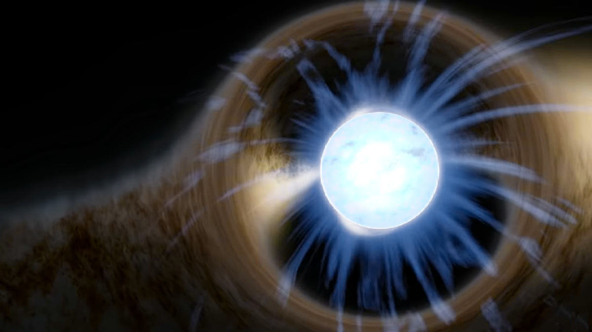 Artist's depiction of a Neutron Star. The star appears distorted due to its strong gravitational pull.