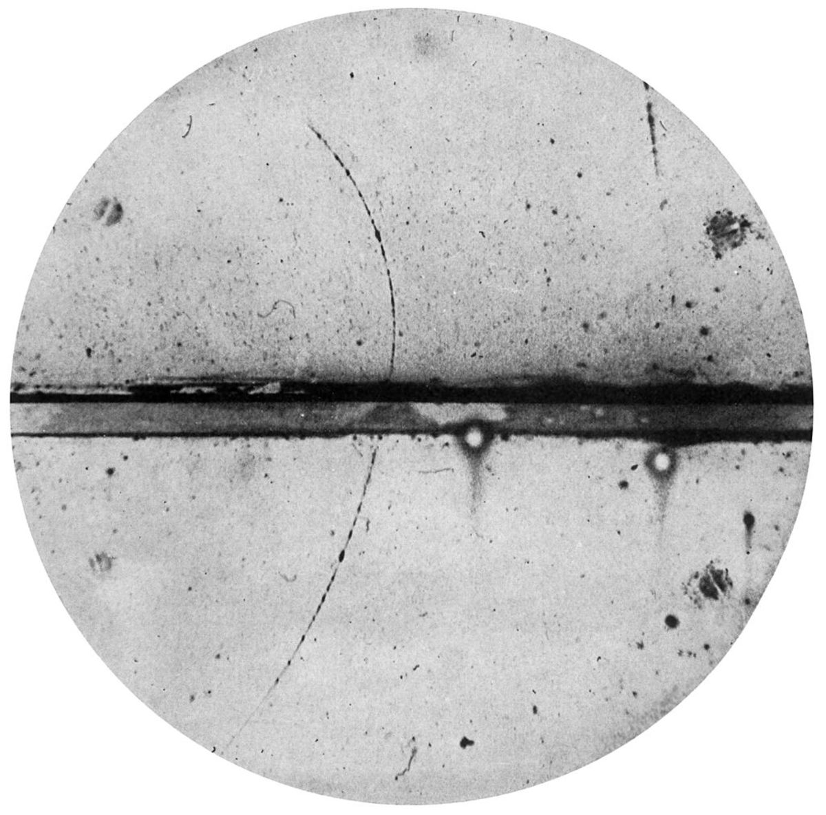 Cloud chamber view of a positron (a form of antimatter).