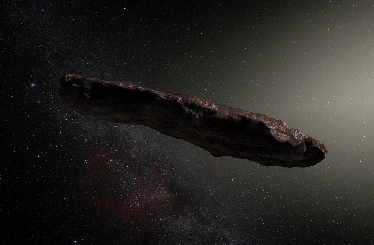 Artist's depiction of the interstellar object known as 'Oumuamua.
