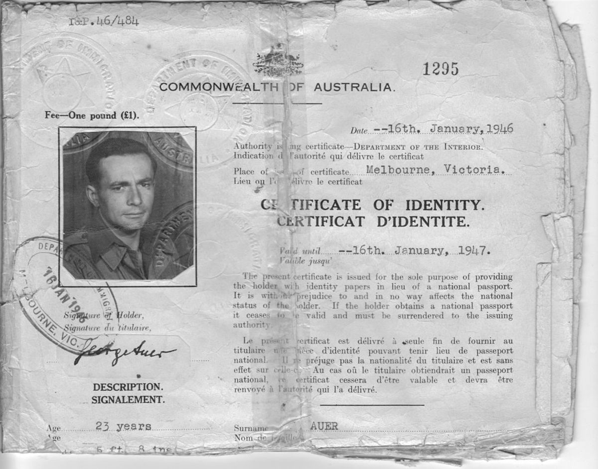 Georg Auer was a Dunera passenger who joined the Australian Army was given what amounted to a passport.