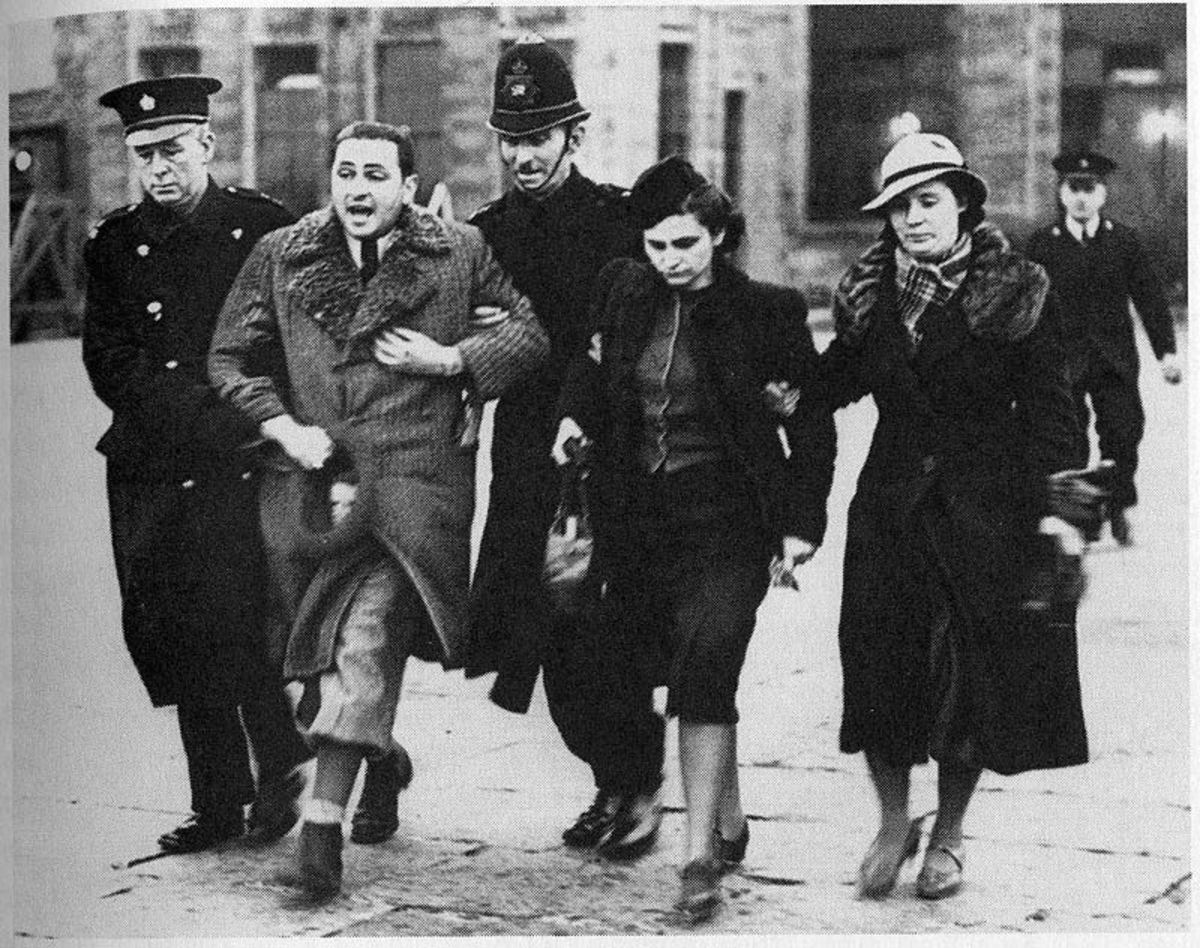 Jewish refugees from Europe under arrest on arrival in Britain in March 1939.