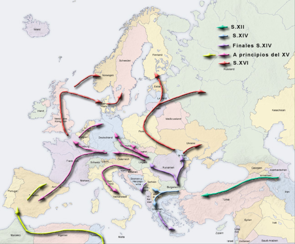 The migration of the Romany people through the Middle East and Northern Africa to Europe