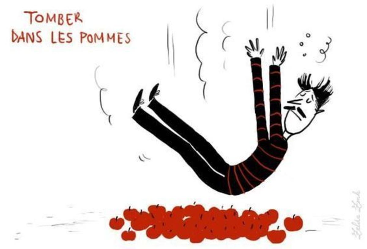 """A literal representation of the locution """"Tomber dans les pommes"""""""