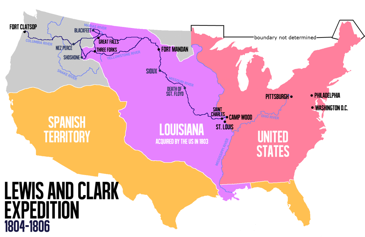 Route of the Lewis and Clark Expedition- which left before the purchase was technically ratified.