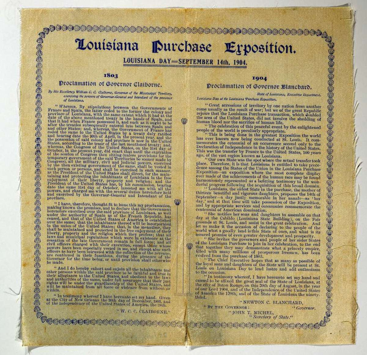 1803 Proclamation side by side with 1904 Proclamation
