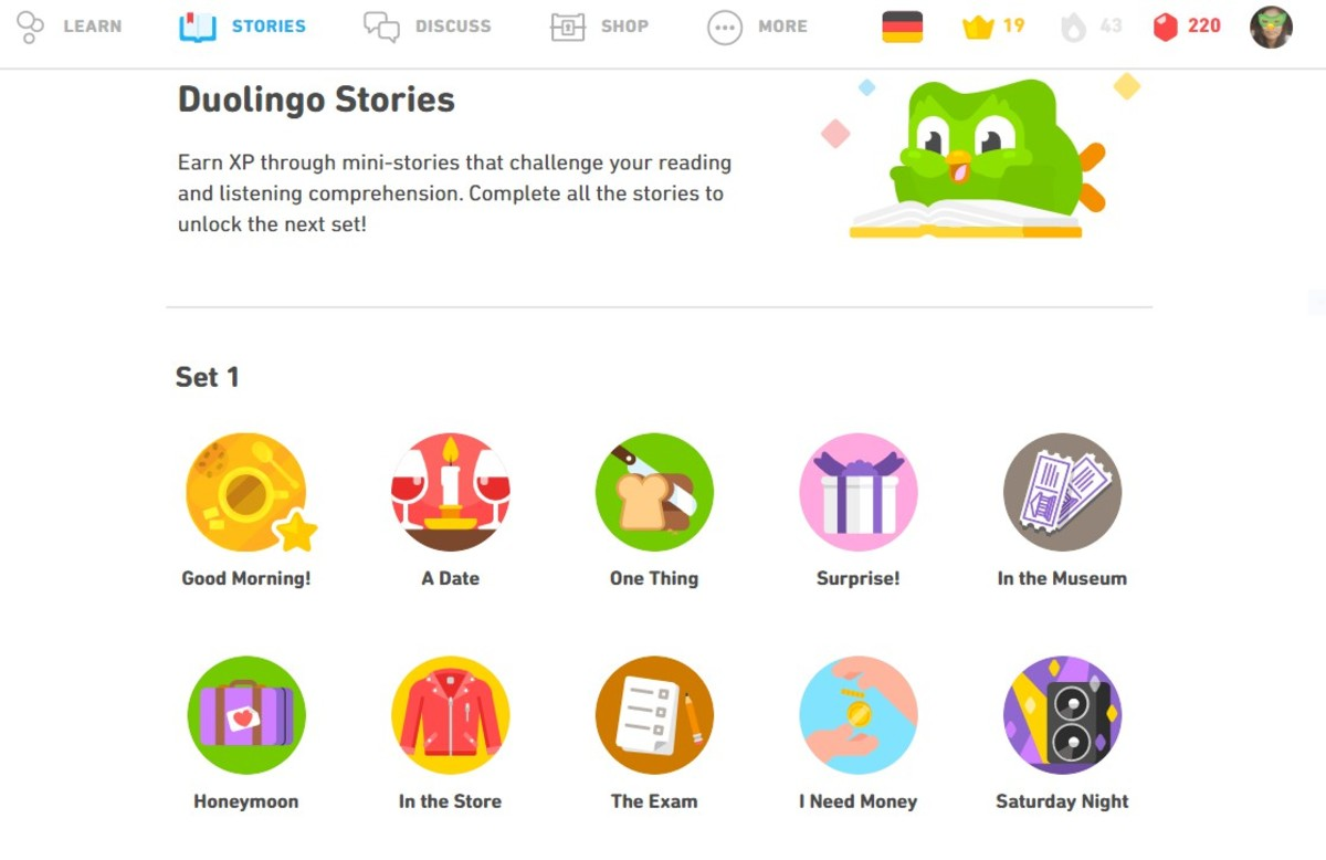 This is what Duolingo Stories look like.