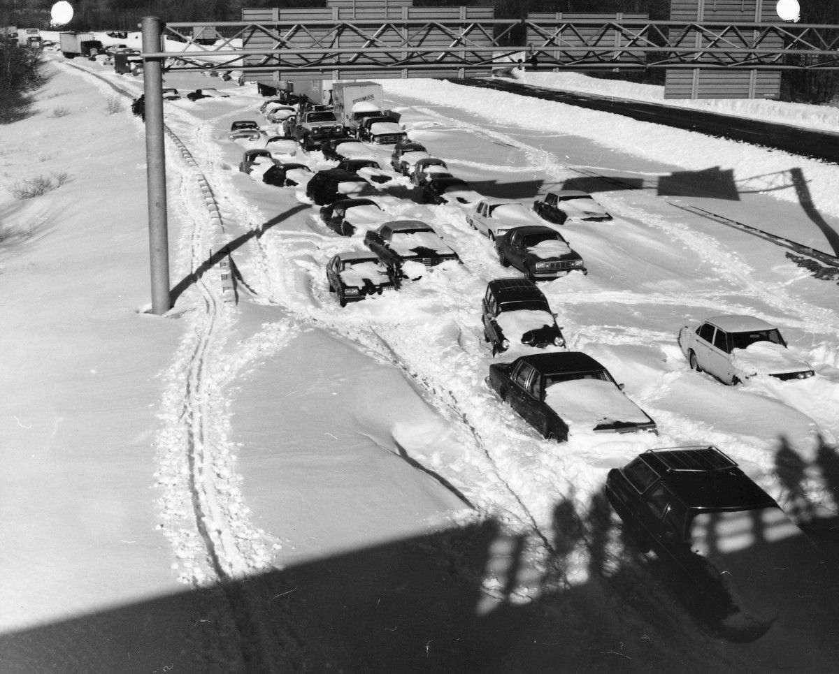 Cars Caught in Blizzard
