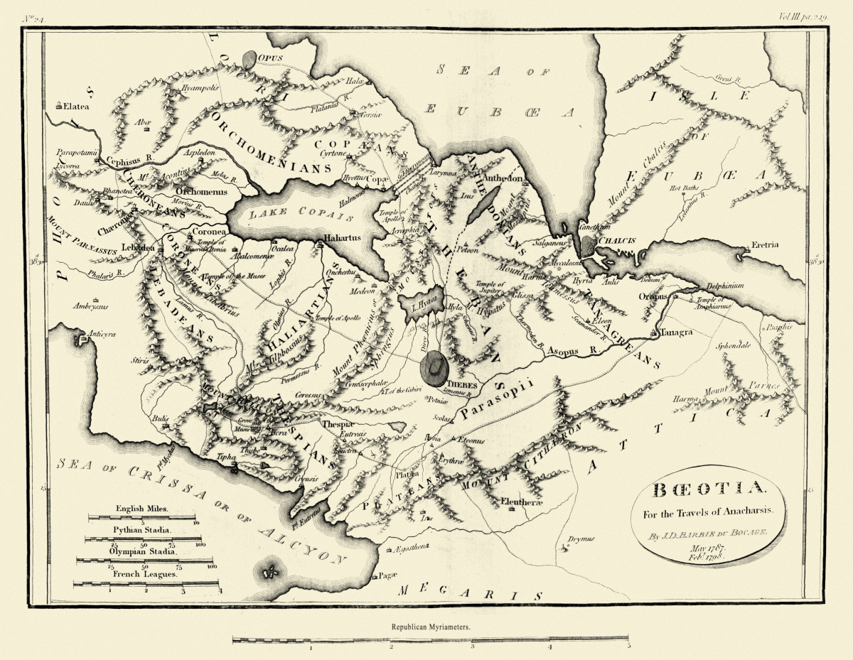 An 18th Century map of Boeotia.