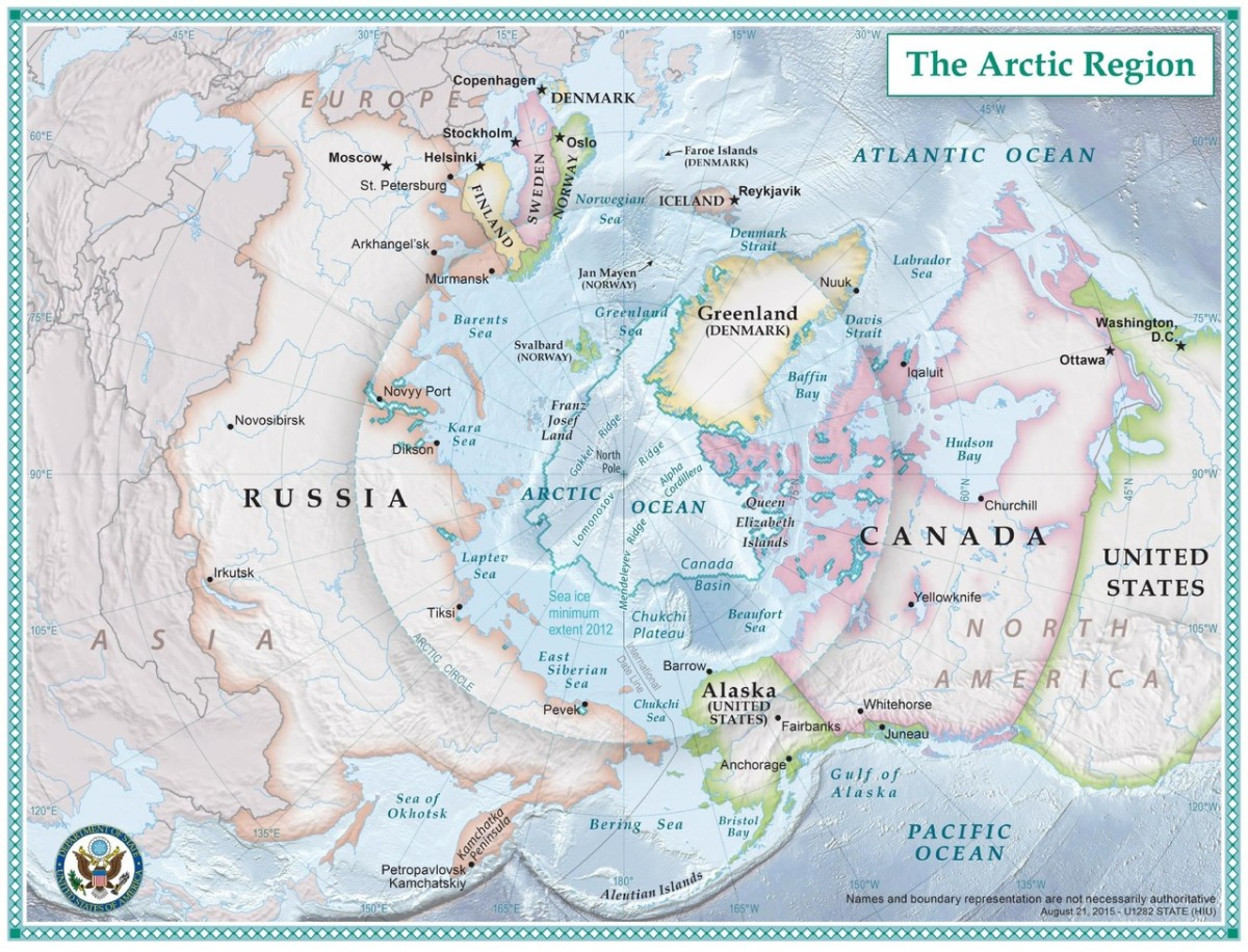 Map of the Arctic (within the circle)